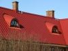 Mörkröda kupor i mörkröd pannplåt